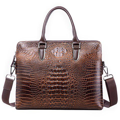New Stylish Crocodile Print and Solid Color Design Men's Briefcase