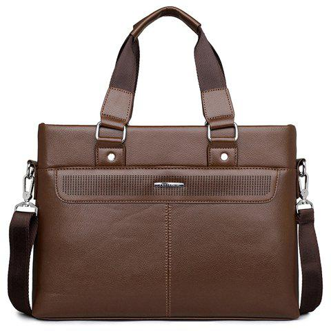 Cheap Concise Solid Color and Stitching Design Men's Briefcase