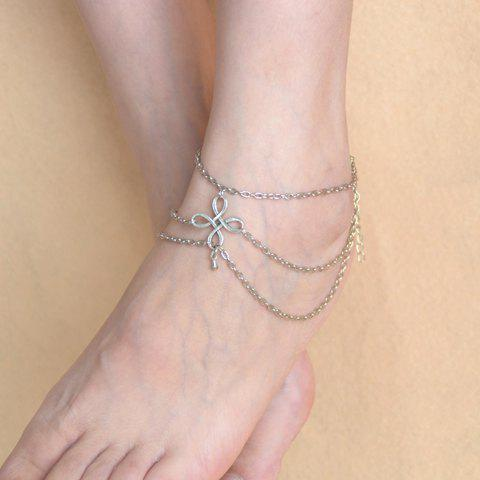 Fancy Vintage Chinese Knot Layered Chain Tassel Feet Anklet - SILVER  Mobile