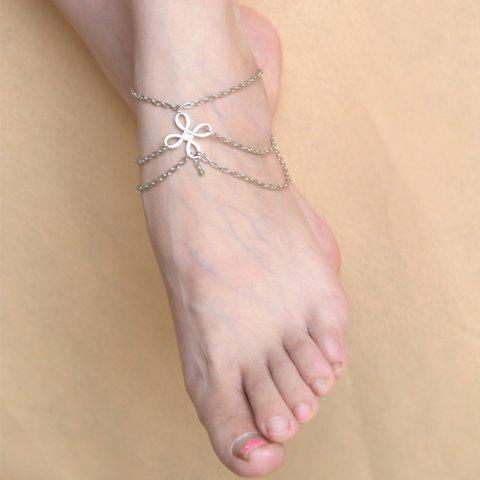 Outfits Vintage Chinese Knot Layered Chain Tassel Feet Anklet SILVER