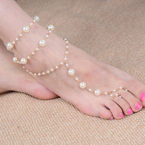 Fancy Graceful Faux Pearl Layered Anklet For Women GOLDEN