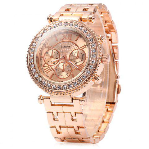 Geneva Female Quartz Watch with Diamond Bezel Stainless Steel Strap - Rose Gold