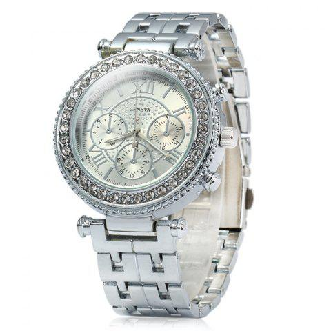 Trendy Geneva Female Quartz Watch with Diamond Bezel Stainless Steel Strap SILVER