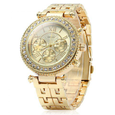 Shop Geneva Female Quartz Watch with Diamond Bezel Stainless Steel Strap
