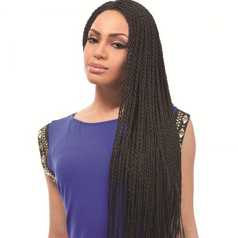 Discount Stunning Black Heat Resistant Fiber Vogue Long Full Hand Tied Braided Lace Front Wig For Women - BLACK  Mobile