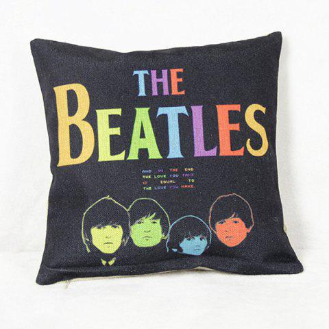 Trendy Simple The Beatles Pattern Square Decorative Pillowcase(Without Pillow Inner) - COLORMIX  Mobile