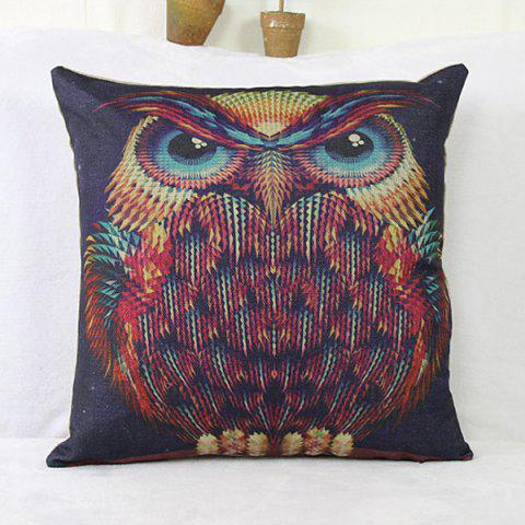Store Fashion  Linen Owl Pattern Square Decorative Pillowcase(Without Pillow Inner) - COLORMIX  Mobile