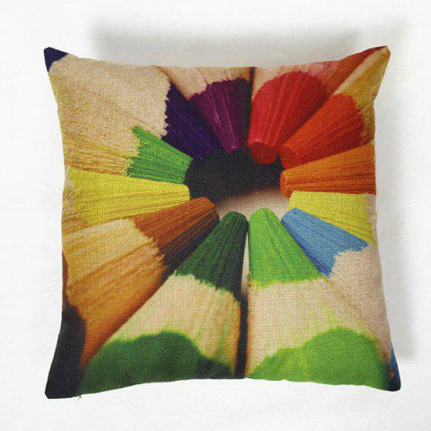 Online Classical Pencils Pattern Square Decorative Pillowcase(Without Pillow Inner)