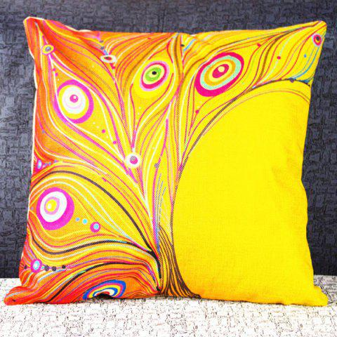 Classical Peacock Feather Pattern Decorative Pillowcase(Without Pillow Inner) - COLORMIX