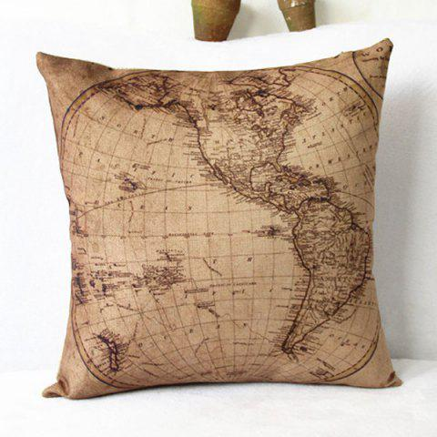 Store Classical World Map Pattern Linen Decorative Pillowcase(Without Pillow Inner)