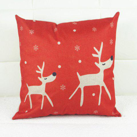 Chic Fashion Christmas Deer Pattern Square Decorative Pillowcase (Without Pillow Inner)