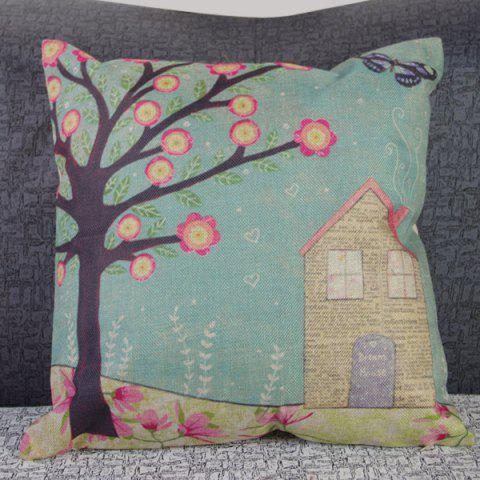 Discount Funny Linen Tree and House Pattern Decorative Pillowcase (Without Pillow Inner)