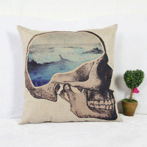 Chic Classical Skull Pattern Linen Decorative Pillowcase (Without Pillow Inner)