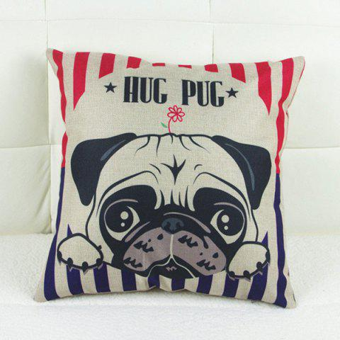 Fashion Simple Linen Dog Pattern Decorative Pillowcase (Without Pillow Inner)