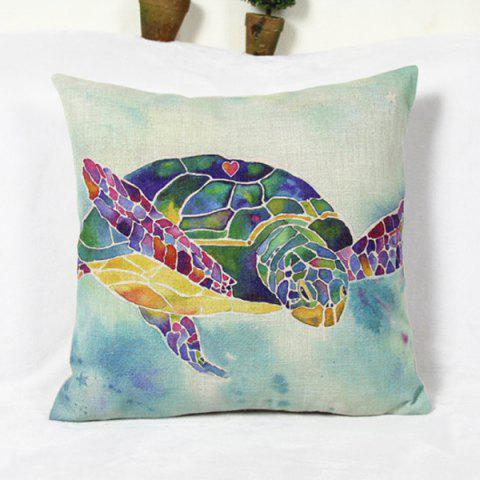 Latest Fresh Sea Turtle Pattern Cotton and Linen Decorative Pillowcase (Without Pillow Inner) - AS THE PICTURE  Mobile