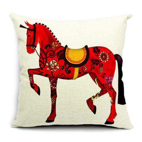 Fashion Simple New Left Red Horse Pattern Pillow Case (Without Pillow Inner)