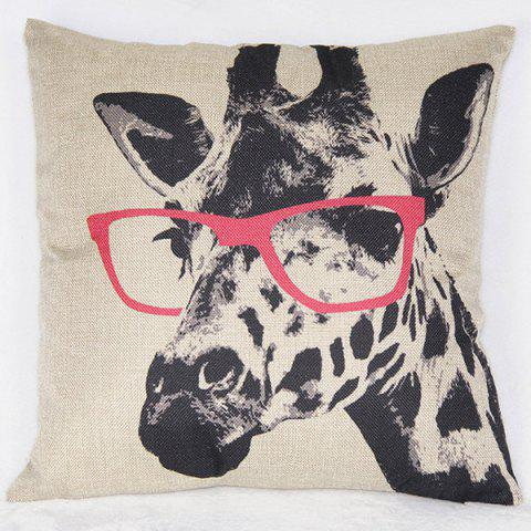 Cheap Simple Giraffe Pattern Printed Square Synthesis of Linen Pillow Case