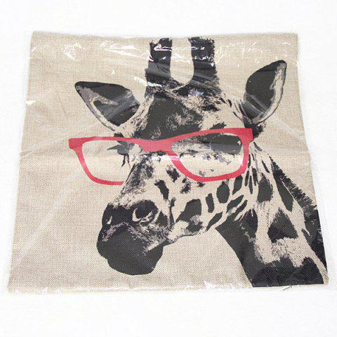 Chic Simple Giraffe Pattern Printed Square Synthesis of Linen Pillow Case - COLORMIX  Mobile