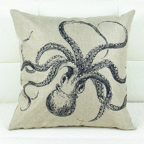 Outfit Cute Octopus Printed Square Composite Linen Blend Pillow Case