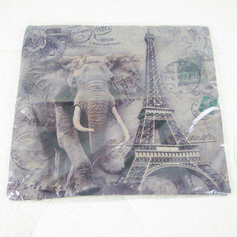 Hot Simple Elephant and Eiffel Tower Printed Square Composite Linen Blend Pillow Case - COLORMIX  Mobile