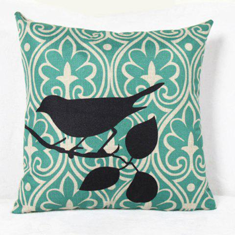 Fashion Charming Bird Printed Square Composite Linen Blend Pillow Case - LIGHT GREEN  Mobile