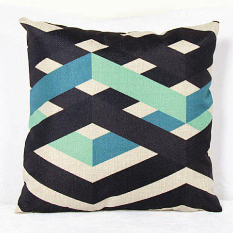 Unique Charming Colorful Stripe Printed Square New Composite Linen Blend Pillow Case - LIGHT BLUE  Mobile