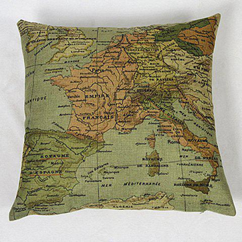 Shops Chic Home Decorative Linen Blended Cover Map Printed Pillow Case