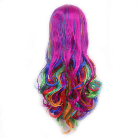 Unique Harajuku Long Side Bang Fashion Colorful Ombre Shaggy Wavy Synthetic Cosplay Wig For Women - OMBRE 1211#  Mobile