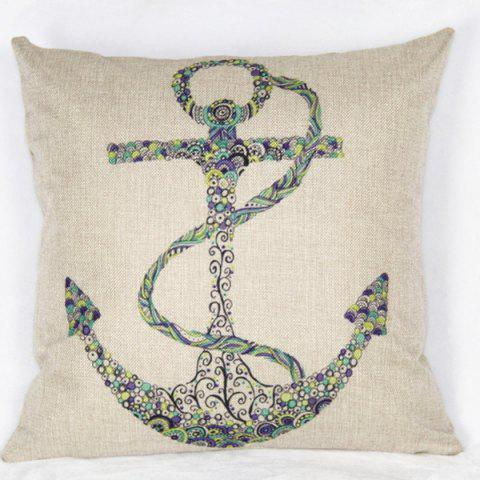 Discount Casual Square Ancre Pattern Decorative Pillowcase(Without Pillow Inner) - COLORMIX  Mobile