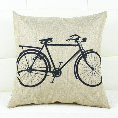 Cheap Fresh Bicycle Pattern Linen Decorative Pillowcase(Without Pillow Inner) - WHITE AND BLACK  Mobile