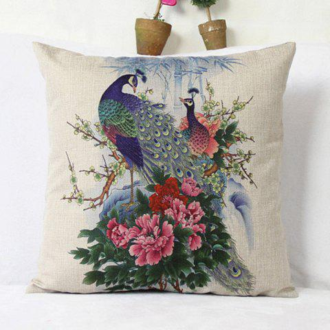 Classical Linen Peacock Pattern Decorative Pillowcase(Without Pillow Inner) - COLORMIX