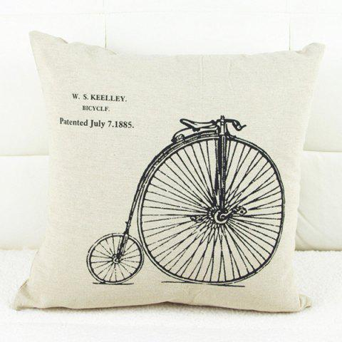 Sale Modern Bicycle Pattern Square Decorative Pillowcase (Without Pillow Inner) - WHITE AND BLACK  Mobile