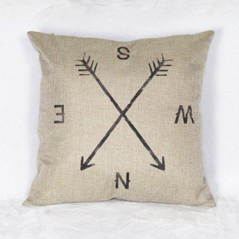 Casual Linen Compass Pattern Decorative Pillowcase (Without Pillow Inner) - WHITE/BLACK