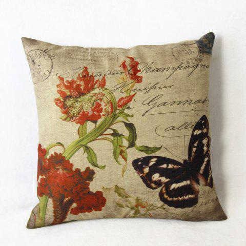 Shops Classical Linen Butterfly Pattern Decorative Pillow Cover (Without Pillow Inner) - BLACK  Mobile