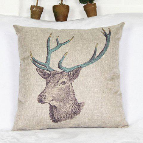 Best Simple Deer Head Pattern Cotton and Linen Decorative Pillowcase