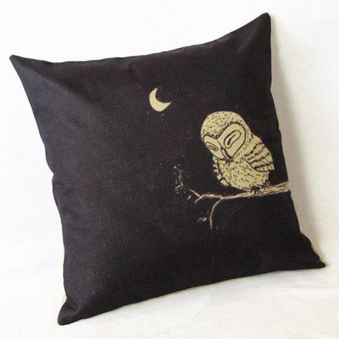 Store Cute Cartoon Owl Printed Square Composite Linen Blend Pillow Case - WHITE AND BLACK  Mobile