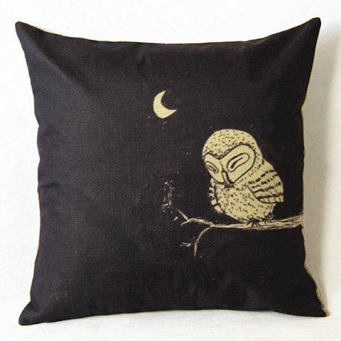 New Cute Cartoon Owl Printed Square Composite Linen Blend Pillow Case - WHITE AND BLACK  Mobile