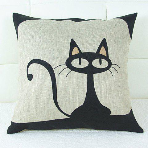 Buy Lovely Cartoon Kitten Printed Square Composite Linen Blend Pillow Case