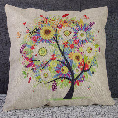 Chic Cute Colorful Tree Printed Square Composite Linen Blend Pillow Case
