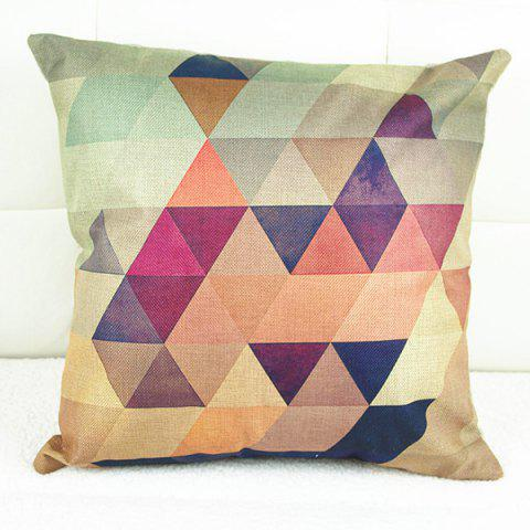 Fancy Simple Colorful Geometric Printed Square Composite Linen Blend Pillow Case - COLORMIX  Mobile
