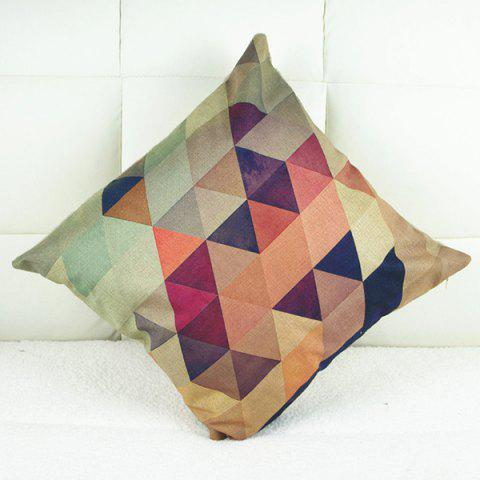 Trendy Simple Colorful Geometric Printed Square Composite Linen Blend Pillow Case - COLORMIX  Mobile