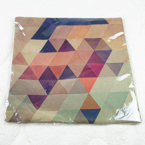 Sale Simple Colorful Geometric Printed Square Composite Linen Blend Pillow Case - COLORMIX  Mobile