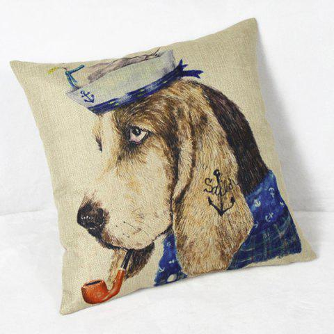 Outfits Charming Animal Printed Square New Composite Linen Blend Pillow Case - COLORMIX  Mobile