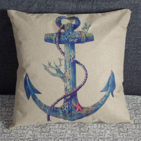 New Charming Anchor Printed Square New Composite Linen Blend Pillow Case