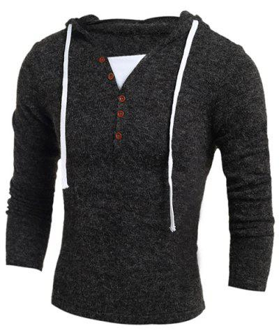 Chic Single-Breasted Drawstring Hooded Solid Color Slimming Long Sleeves Men's Thicken Sweater DEEP GRAY XL