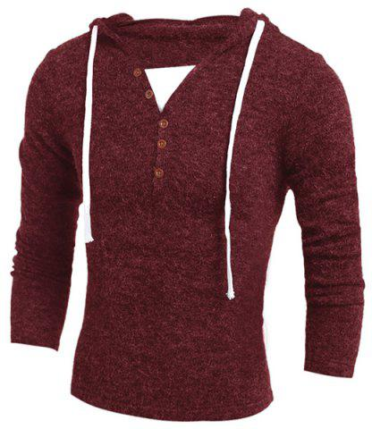 Outfits Single-Breasted Drawstring Hooded Solid Color Slimming Long Sleeves Men's Thicken Sweater - M WINE RED Mobile