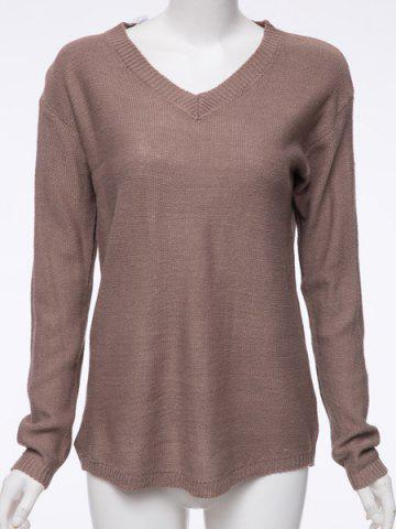 New V Neck Pullover Tunic Sweater DARK KHAKI S