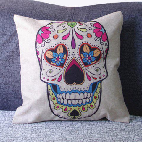 Trendy Fashion Square Skull Pattern Decorative Pillowcase(Without Pillow Inner) - COLORMIX  Mobile