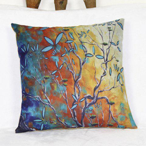 Colorful Linen Tree Pattern Decorative Pillowcase(Without Pillow Inner) - COLORMIX
