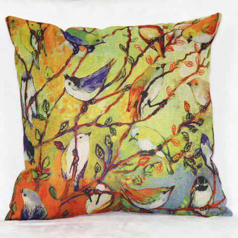 Outfits Colorful Linen Bird Pattern Decorative Pillowcase(Without Pillow Inner)